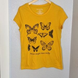 Wound Up Yellow Butterfly Short Sleeve t shirt